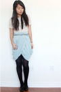 Blue-h-m-skirt-beige-vintage-top