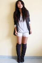 gray Oasis blazer - white shorts - brown Bakers boots