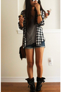 gray shedded DIY t-shirt - black Aldo boots - brown camera vintage purse
