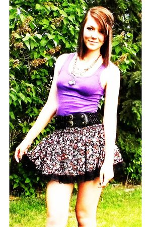 purple Rue 21 top - pink Rue 21 skirt - black Rue 21 belt