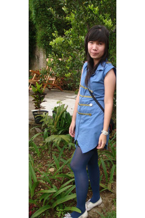 blue Online Shop dress - blue Online Shop tights - white malaysia shoes