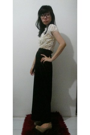 black maxi skirt unbranded skirt - dark khaki Charles & Keith heels