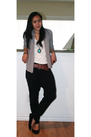 white American Apparel top - gray Reitmans cardigan - black Zara pants - brown H