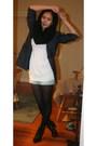 Black-h-m-scarf-black-h-m-boots-blue-inc-blazer-white