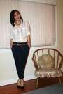 White-zara-blouse-navy-zara-pants-black-roberto-vianni-shoes-gold-daisy-by
