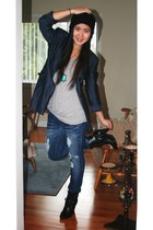 black hat - blue INC blazer - gray garage top - blue Aldo accessories - blue Sti