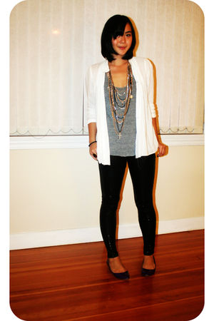 white Zara blouse - black Zara pants - gray American Apparel top