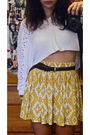 Gold-forever-21-skirt-white-vintage-sweater-brown-vintage-belt