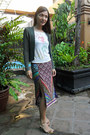 Dark-green-whistles-cardigan-diy-top-customized-skirt