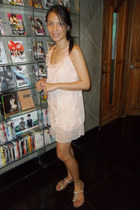 peach dress - silver alberto flats