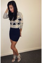 heather gray hearts J Crew sweater - navy mini skirt H&M skirt