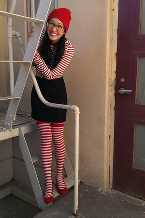 red H&M hat - candy stripes Forever 21 shirt - red madewell flats