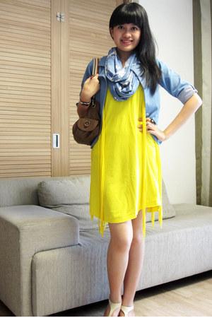 Zara dress - jeanz blazer blazer - scarf - Guess bag