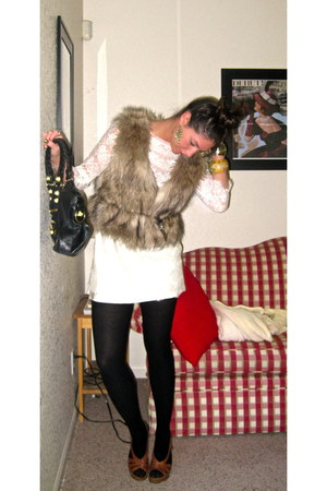 lace dress dress - spanx tights tights - balenciaga bag - wedges - faux fur vest