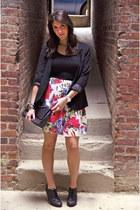 hot pink floral skirt - black silent noise blazer - Splendid top
