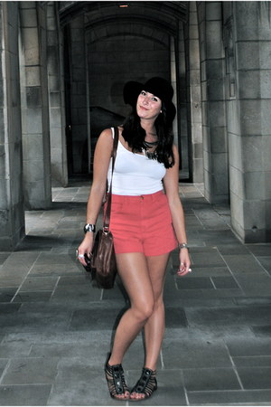 black floppy hat H&M hat - brown ecote bag - red American Apparel shorts