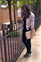 light purple Forever 21 jacket - black skinny Zara jeans - peach Aldo purse