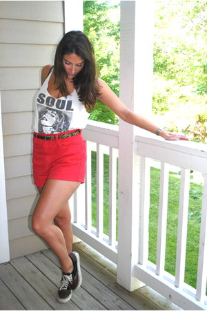 red American Apparel shorts - charcoal gray color block Vans sneakers - white Fo