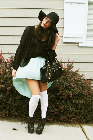 aquamarine Millau skirt - black floppy H&amp;M hat - black balenciaga bag