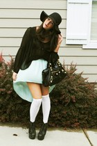 aquamarine Millau skirt - black floppy H&M hat - black balenciaga bag
