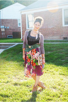magenta Old Navy skirt - tan Old Navy boots - peach Aldo purse