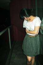 gap boyfriend t-shirt - Sportsgirl belt - thrifted skirt