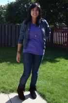H&M jacket - American Apparel shirt - Minnetonka shoes