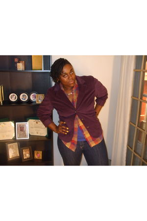 purple liz claiborne blazer - gold northwest blue shirt - blue Old Navy shirt -