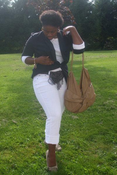 blazer - Old Navy shirt - scarf - jorche jeans - purse - kmsrt shoes