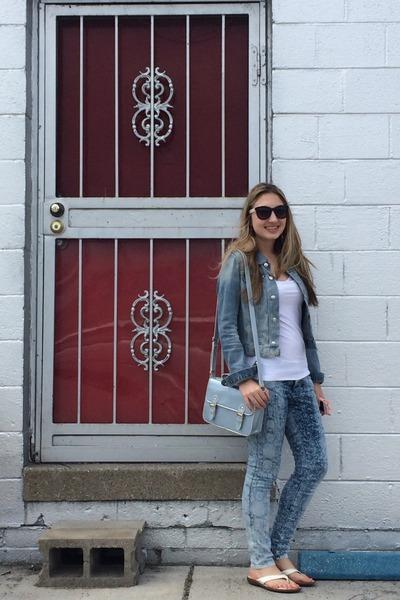 sky blue H&M jeans - sky blue denim jacket H&M jacket