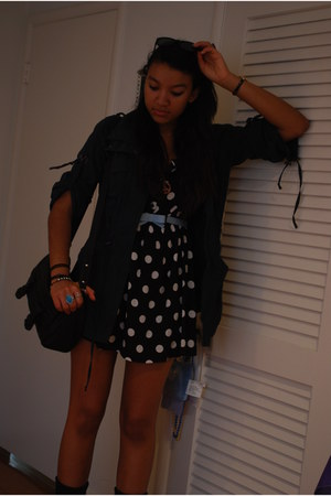black combat Lulus boots - black polka dotted H&M dress
