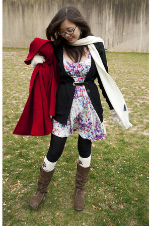 ruby red AnneKlein coat - black kohls cardigan - white Forever 21 dress - black