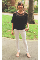 black H&M top - black Target top - white Zara jeans