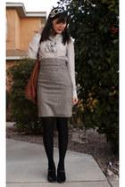 Forever 21 skirt - JCrew blouse - JCrew tights - Target bag - naturalizer heels