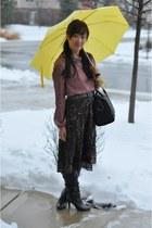 Forever 21 blouse - apostrophe boots - Aldo bag - Forever 21 skirt
