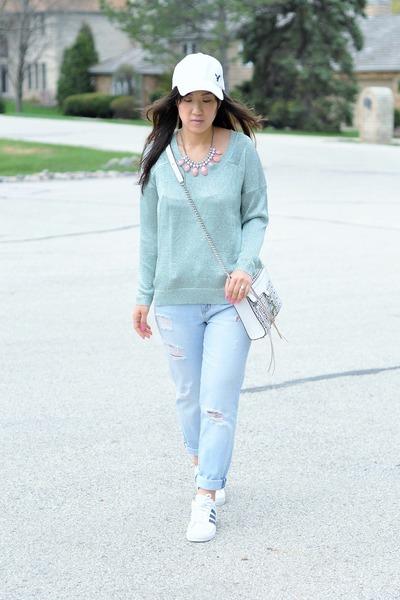 light blue boyfriend Forever 21 jeans - aquamarine metallic Forever 21 sweater