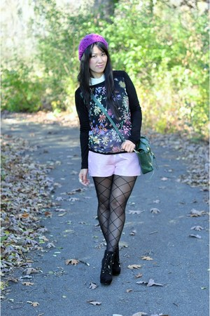 Forever 21 shirt - black The Limited tights - forest green 31 Phillip Lim bag