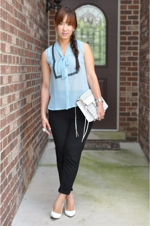 white Rebecca Minkoff bag - black slim cropped H&M pants