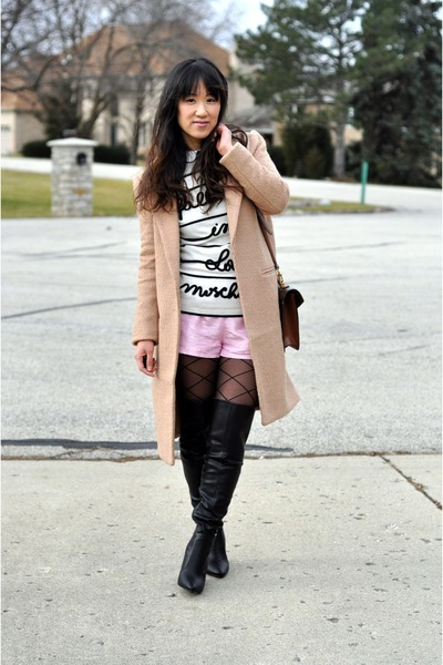 cream Love Moschino sweater - black wild diva boots - tan Forever 21 coat
