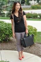 black Zara bag - tan long Forever 21 vest - coral Zara heels - Forever 21 pants