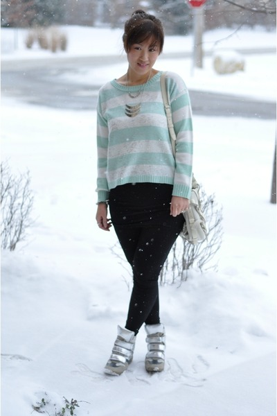 mint striped TJ Maxx sweater - Alexander Wang bag - Steve Madden sneakers