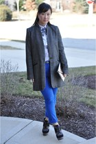 Mango coat - The Limited shirt - asos bag - blue cropped asos pants