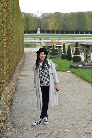 heather gray trench coat Zara coat - black skinny Old Navy jeans