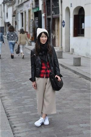beige culotte Stylenanda pants - eggshell knit beanie asos hat