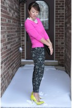 Forever 21 sweater - DSW bag - neon yellow Topshop heels - Forever 21 pants