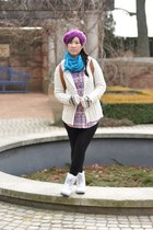 Forever 21 cardigan - white duck Sorel boots - Forever 21 shirt - Aldo bag