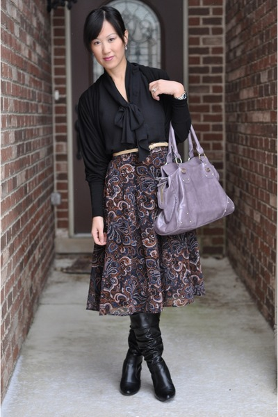 Forever 21 skirt - light purple satchel Aldo bag - black Chaus blouse