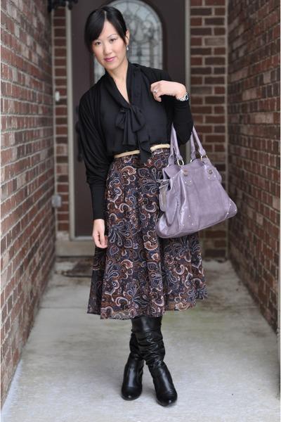 Forever 21 skirt - light purple satchel Aldo bag - black Chaus blouse