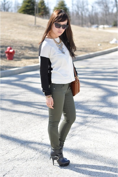 Forever 21 necklace - black ankle Dollhouse boots - Old Navy jeans