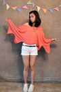 Coral-sweater-black-forever-21-belt-white-k-swiss-sneakers
